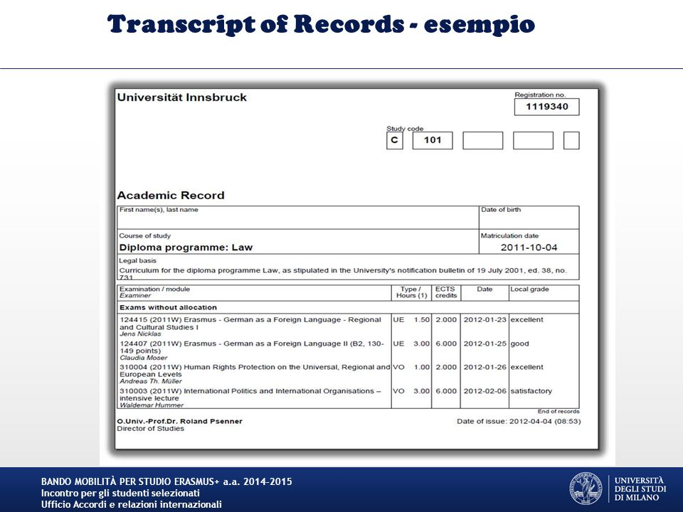Transcript of Records - esempio