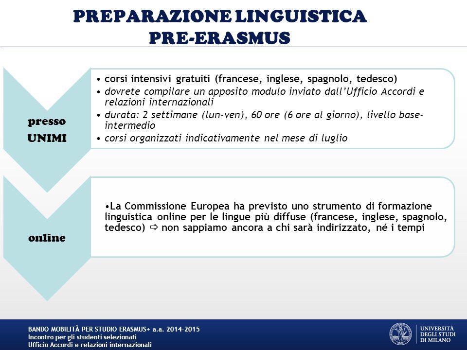 PREPARAZIONE LINGUISTICA PRE-ERASMUS