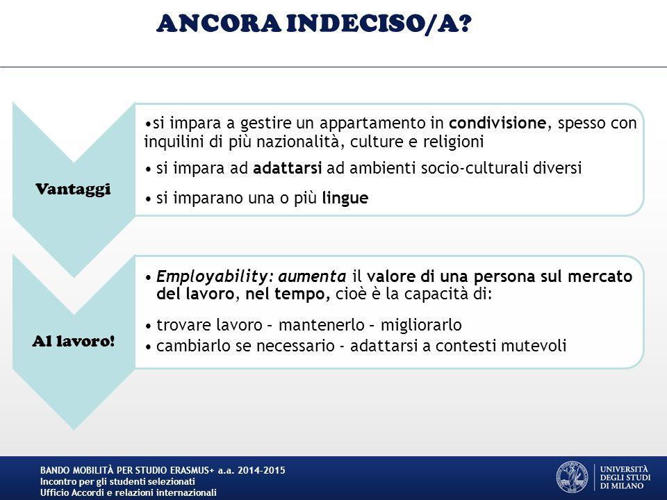 ANCORA INDECISO/A Vantaggi
