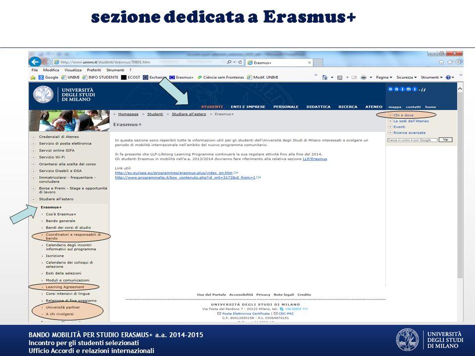 sezione dedicata a Erasmus+