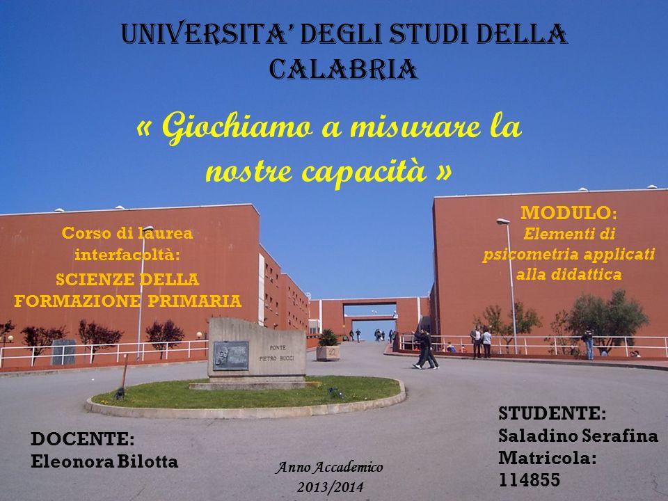UNIVERSITA' DEGLI STUDI DELLA CALABRIA