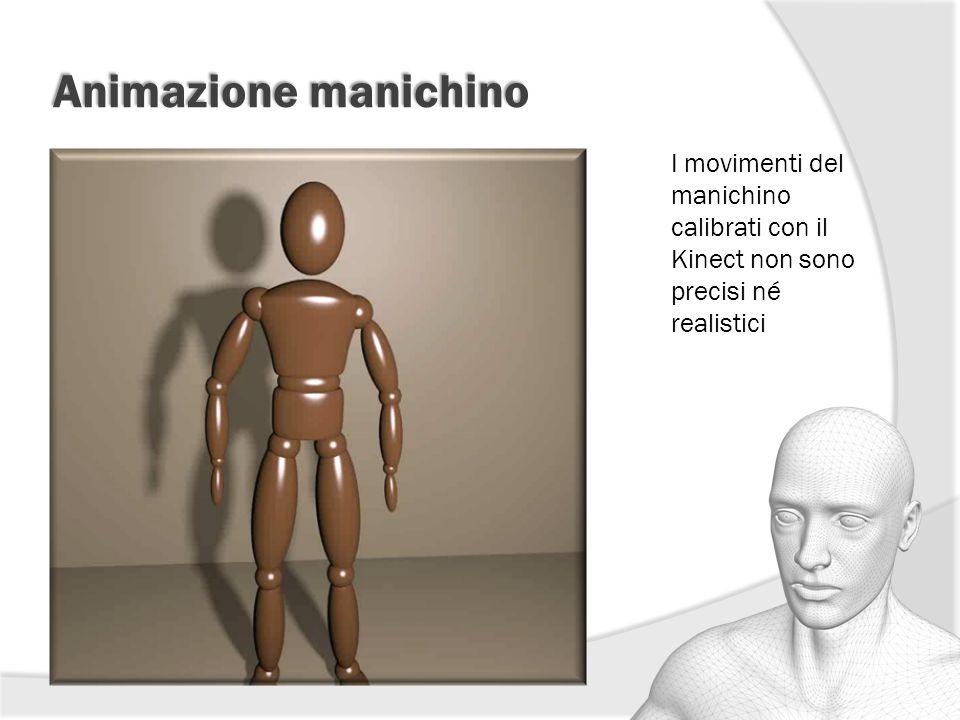 Animazione manichino I movimenti del manichino calibrati con il Kinect non sono precisi né realistici.