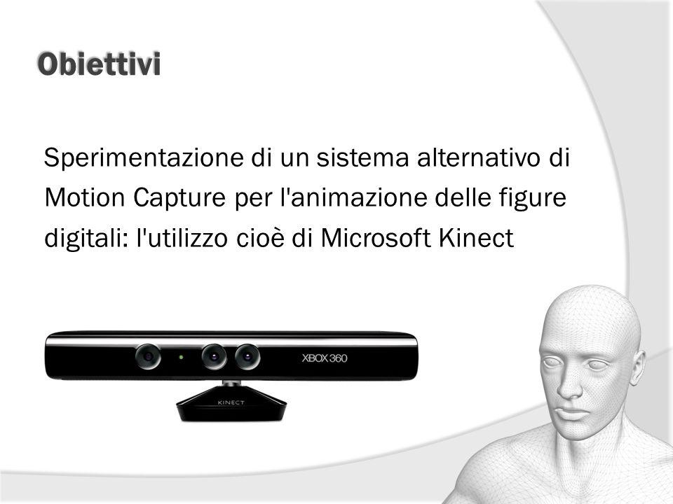 Obiettivi Sperimentazione di un sistema alternativo di Motion Capture per l animazione delle figure digitali: l utilizzo cioè di Microsoft Kinect