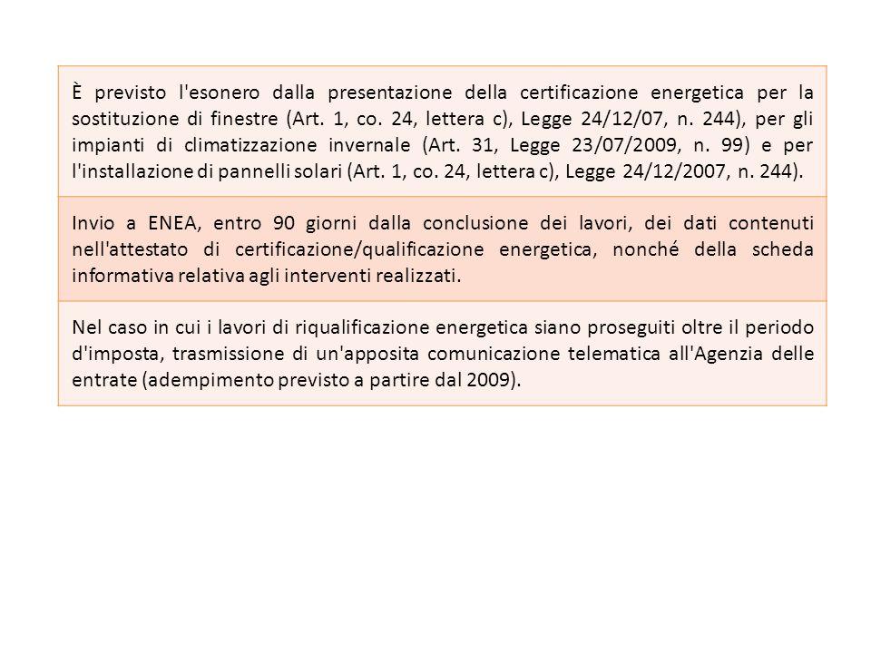 È previsto l esonero dalla presentazione della certificazione energetica per la sostituzione di finestre (Art. 1, co. 24, lettera c), Legge 24/12/07, n. 244), per gli impianti di climatizzazione invernale (Art. 31, Legge 23/07/2009, n. 99) e per l installazione di pannelli solari (Art. 1, co. 24, lettera c), Legge 24/12/2007, n. 244).