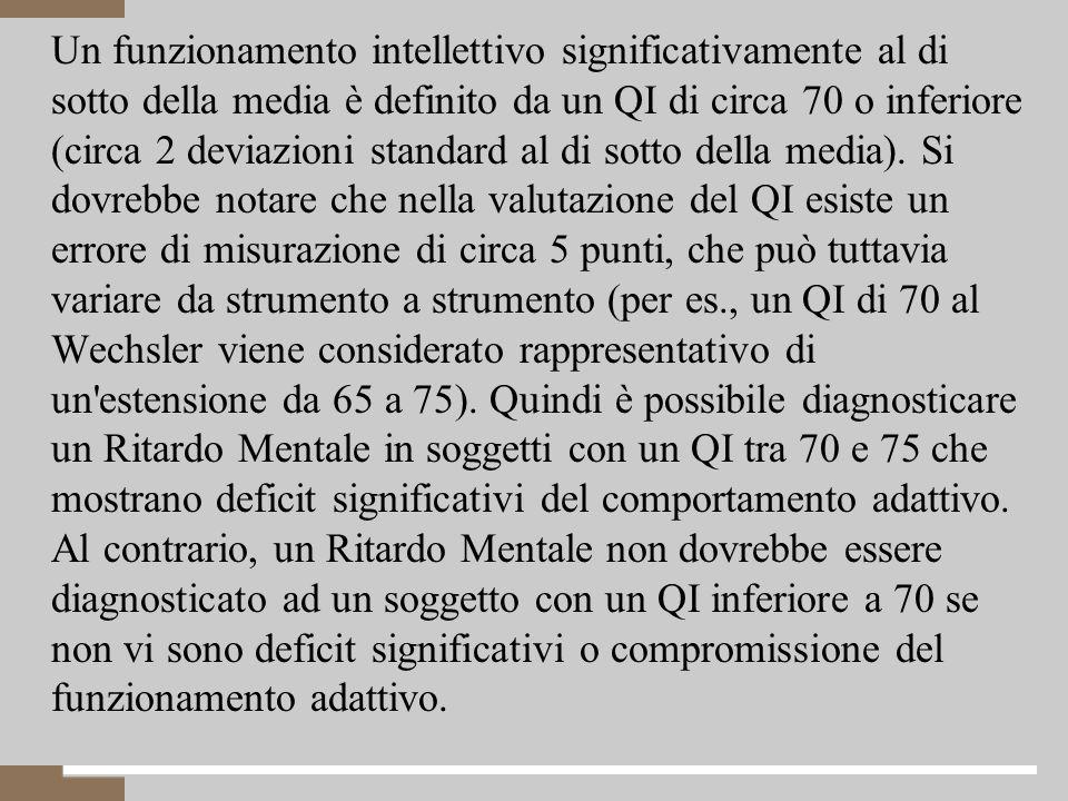 Un funzionamento intellettivo significativamente al di sotto della media è definito da un QI di circa 70 o inferiore (circa 2 deviazioni standard al di sotto della media).