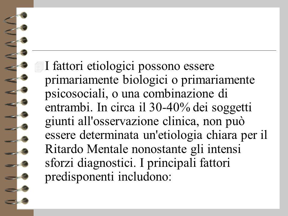 I fattori etiologici possono essere primariamente biologici o primariamente psicosociali, o una combinazione di entrambi.