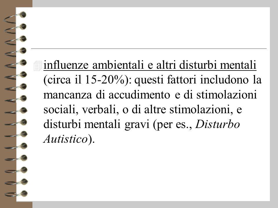 influenze ambientali e altri disturbi mentali (circa il 15-20%): questi fattori includono la mancanza di accudimento e di stimolazioni sociali, verbali, o di altre stimolazioni, e disturbi mentali gravi (per es., Disturbo Autistico).
