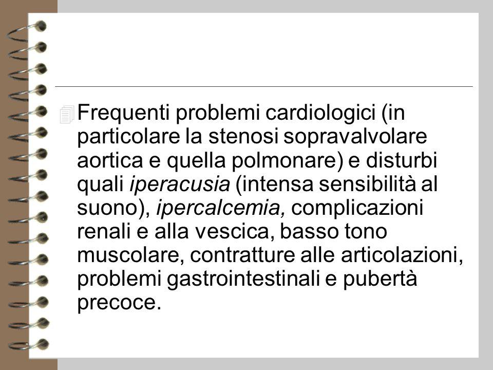 Frequenti problemi cardiologici (in particolare la stenosi sopravalvolare aortica e quella polmonare) e disturbi quali iperacusia (intensa sensibilità al suono), ipercalcemia, complicazioni renali e alla vescica, basso tono muscolare, contratture alle articolazioni, problemi gastrointestinali e pubertà precoce.