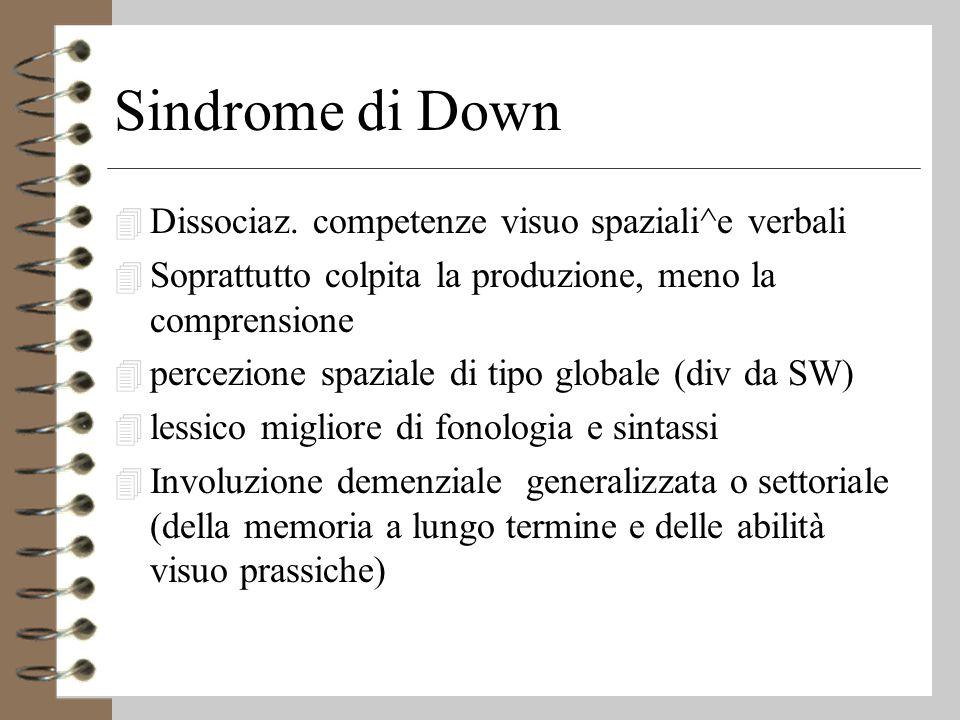 Sindrome di Down Dissociaz. competenze visuo spaziali^e verbali