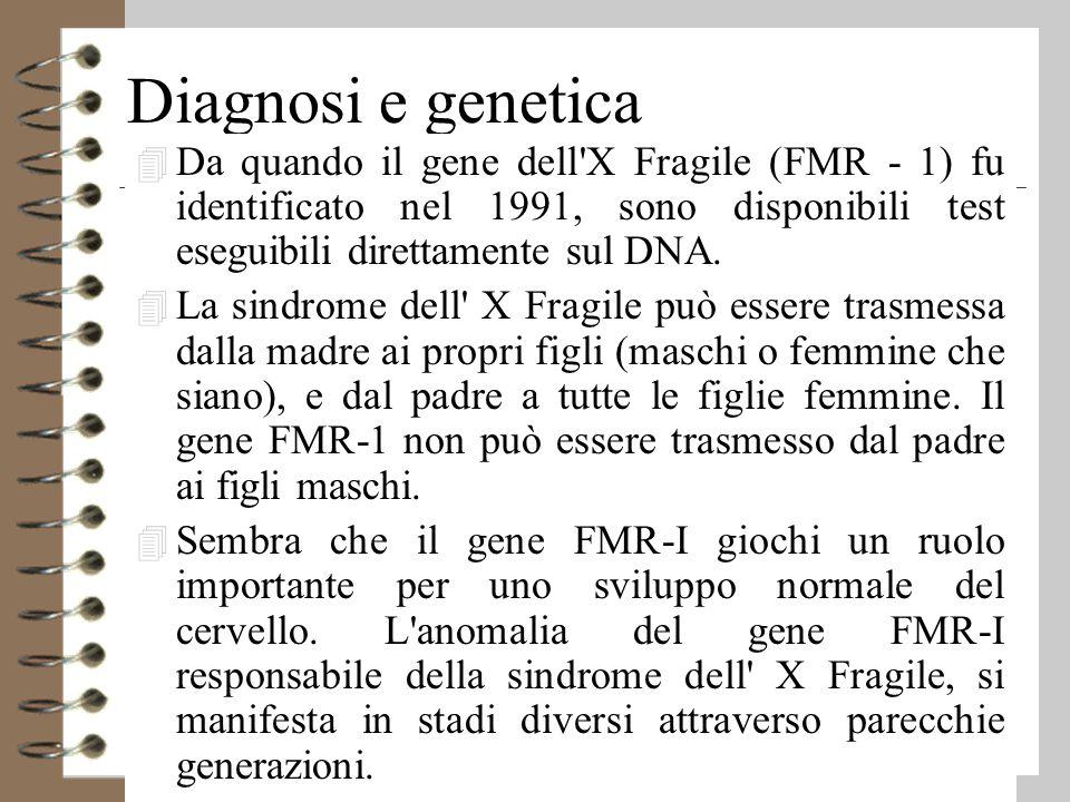 Diagnosi e genetica Da quando il gene dell X Fragile (FMR - 1) fu identificato nel 1991, sono disponibili test eseguibili direttamente sul DNA.