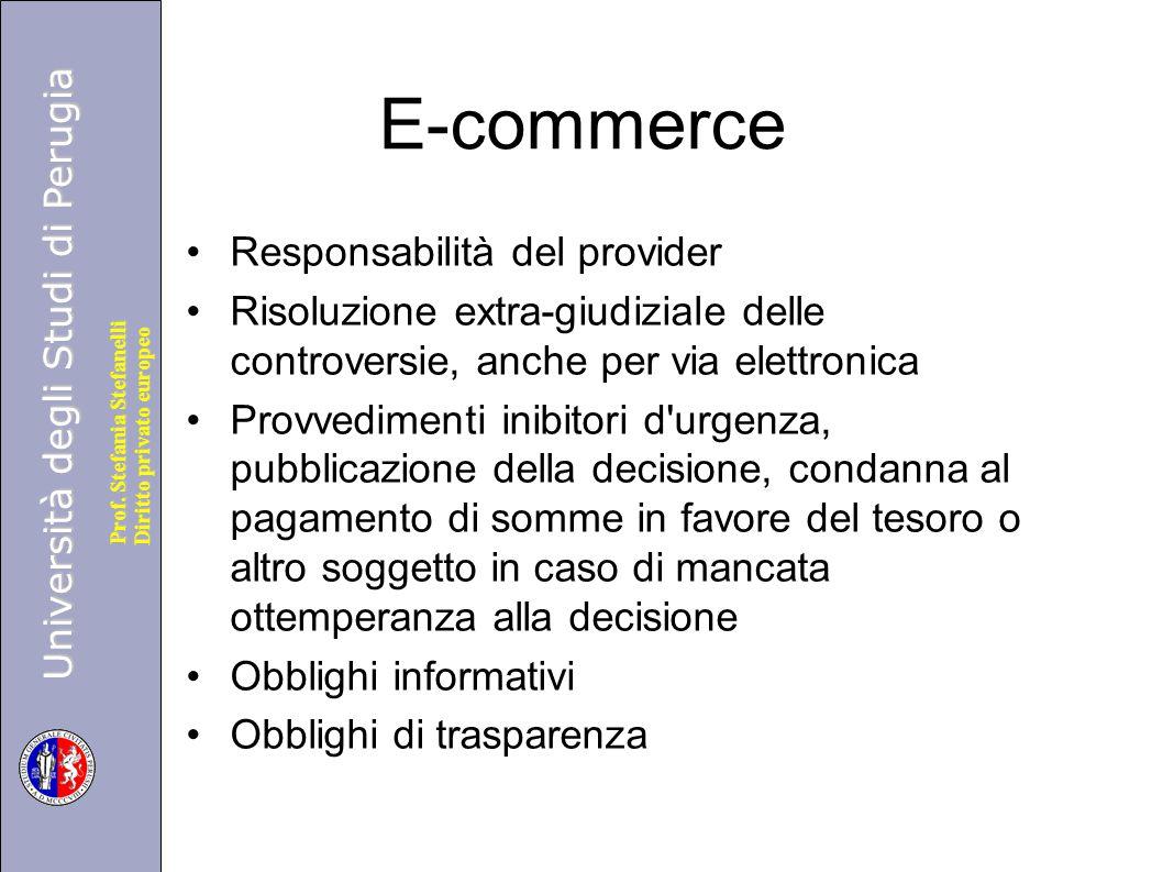 E-commerce Responsabilità del provider