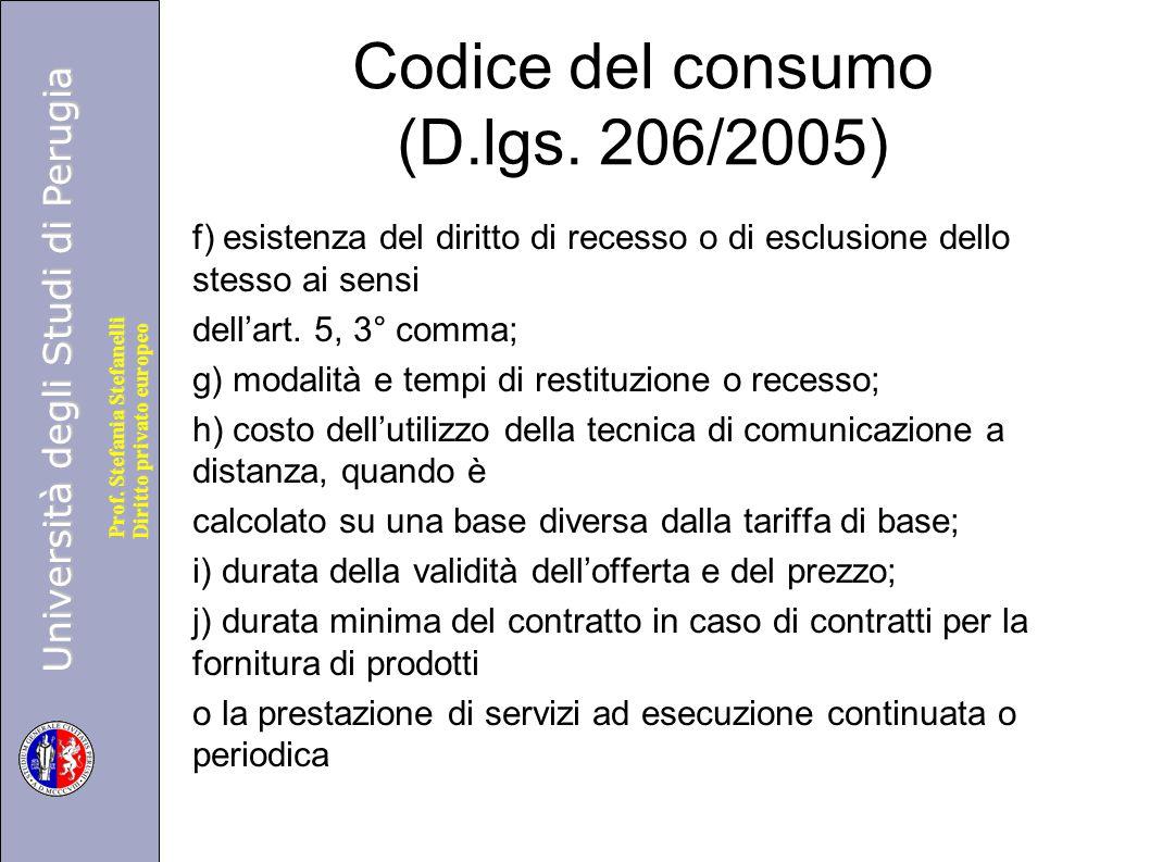 Codice del consumo (D.lgs. 206/2005)