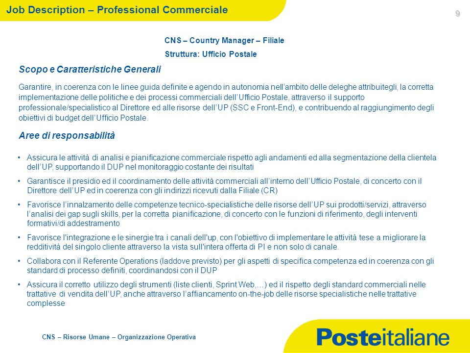 Job Description – Professional Commerciale