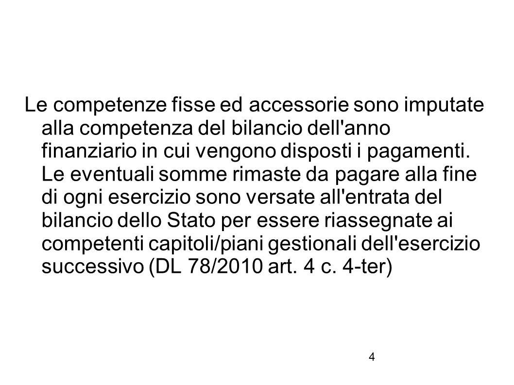 Le competenze fisse ed accessorie sono imputate alla competenza del bilancio dell anno finanziario in cui vengono disposti i pagamenti.
