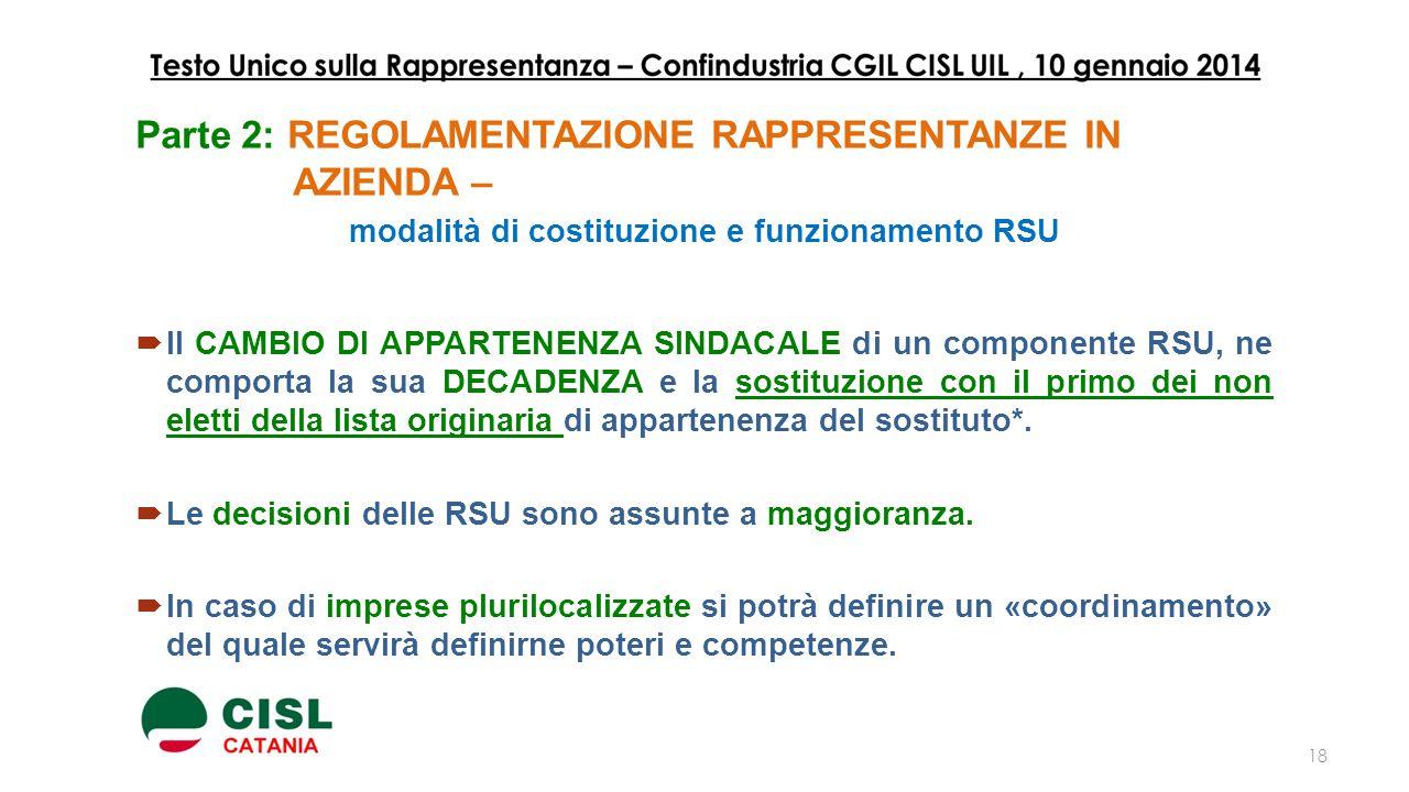 modalità di costituzione e funzionamento RSU