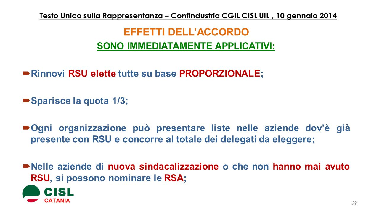 SONO IMMEDIATAMENTE APPLICATIVI: