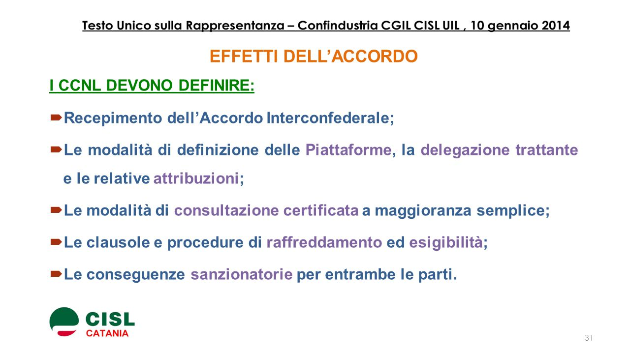 EFFETTI DELL'ACCORDO I CCNL DEVONO DEFINIRE: