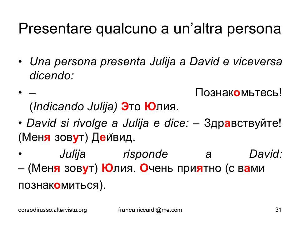 Presentare qualcuno a un'altra persona