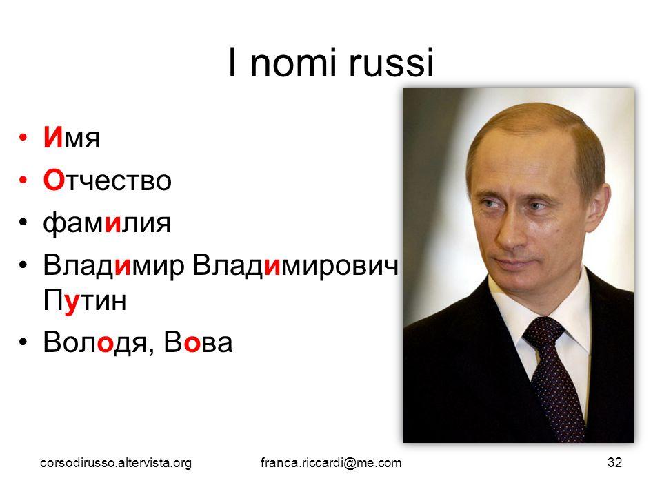 I nomi russi Имя Отчество фамилия Владимир Владимирович Путин
