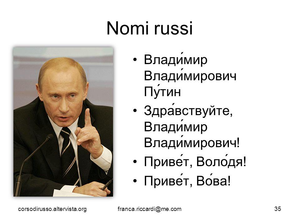 Nomi russi Влади́мир Влади́мирович Пу́тин