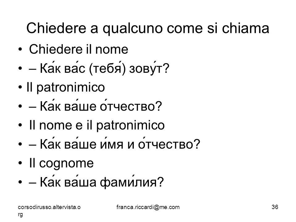 Chiedere a qualcuno come si chiama