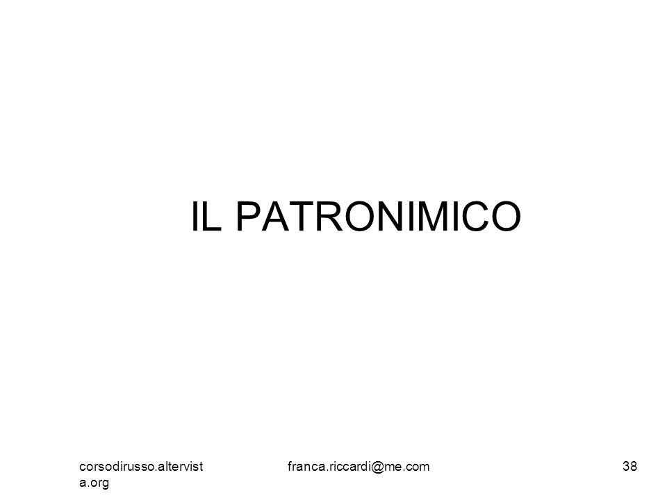 IL PATRONIMICO corsodirusso.altervista.org franca.riccardi@me.com