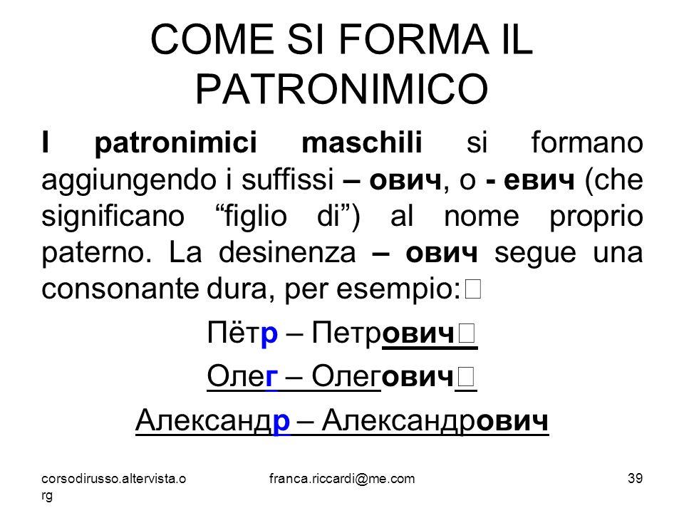 COME SI FORMA IL PATRONIMICO