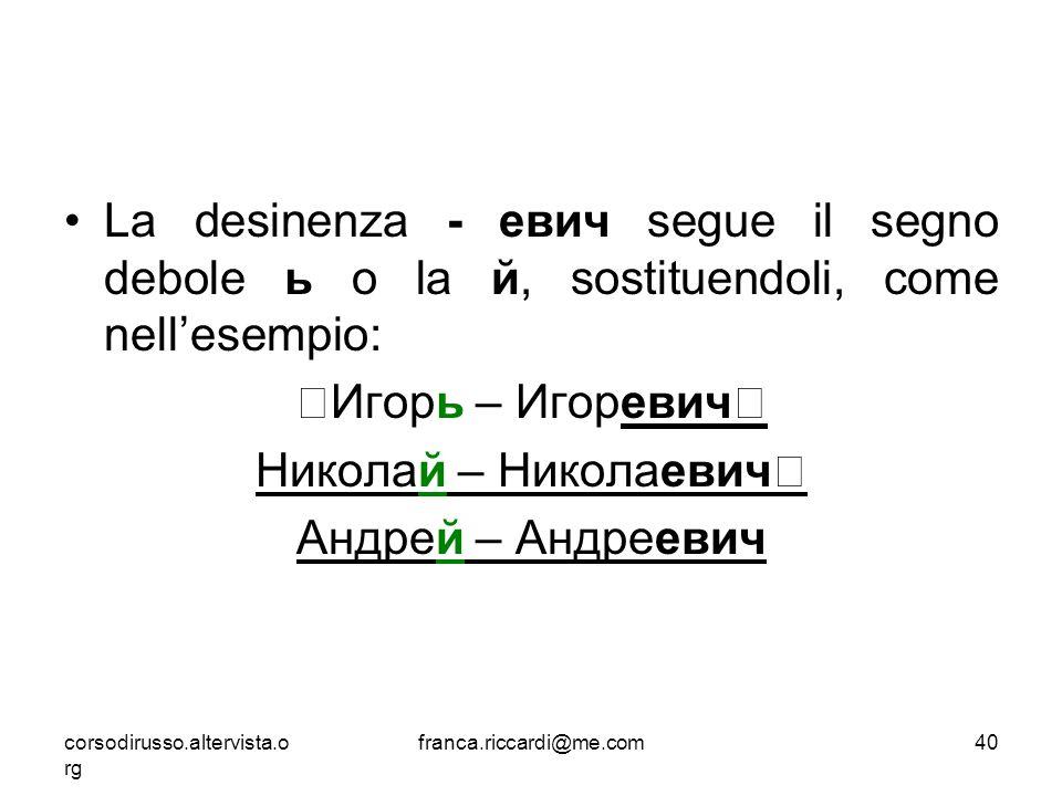 La desinenza - евич segue il segno debole ь o la й, sostituendoli, come nell'esempio: