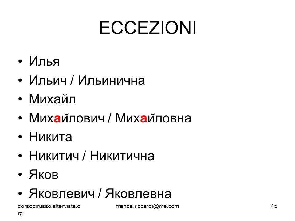 ECCEZIONI Илья Ильич / Ильинична Михайл Михайлович / Михайловна