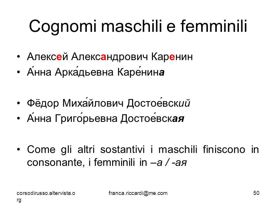 Cognomi maschili e femminili