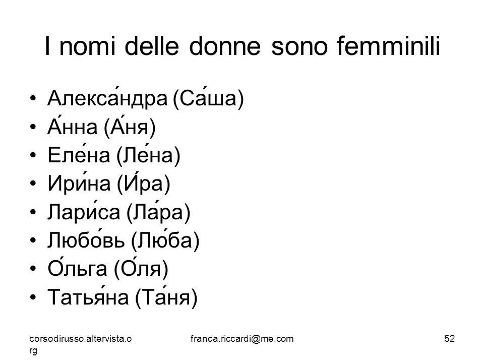 I nomi delle donne sono femminili