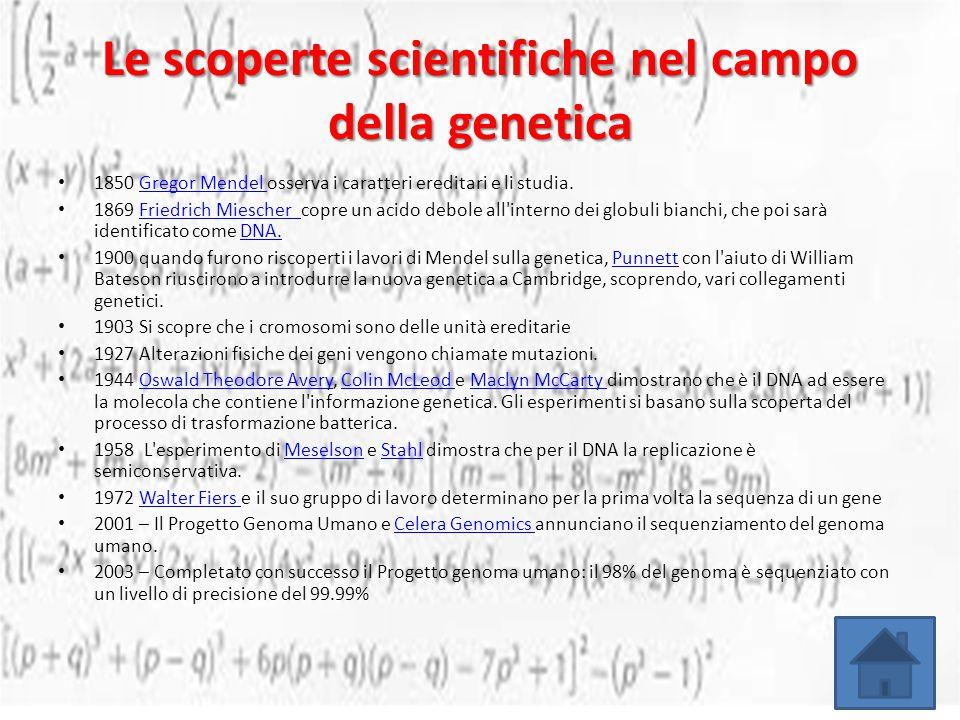 Le scoperte scientifiche nel campo della genetica