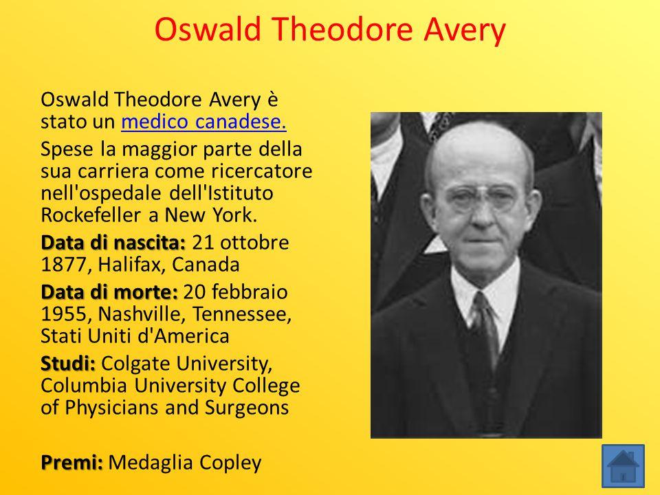 Oswald Theodore Avery Oswald Theodore Avery è stato un medico canadese.