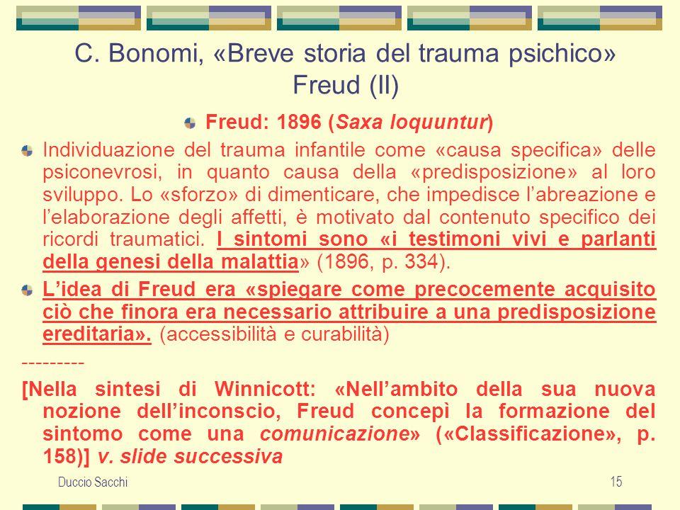 C. Bonomi, «Breve storia del trauma psichico» Freud (II)