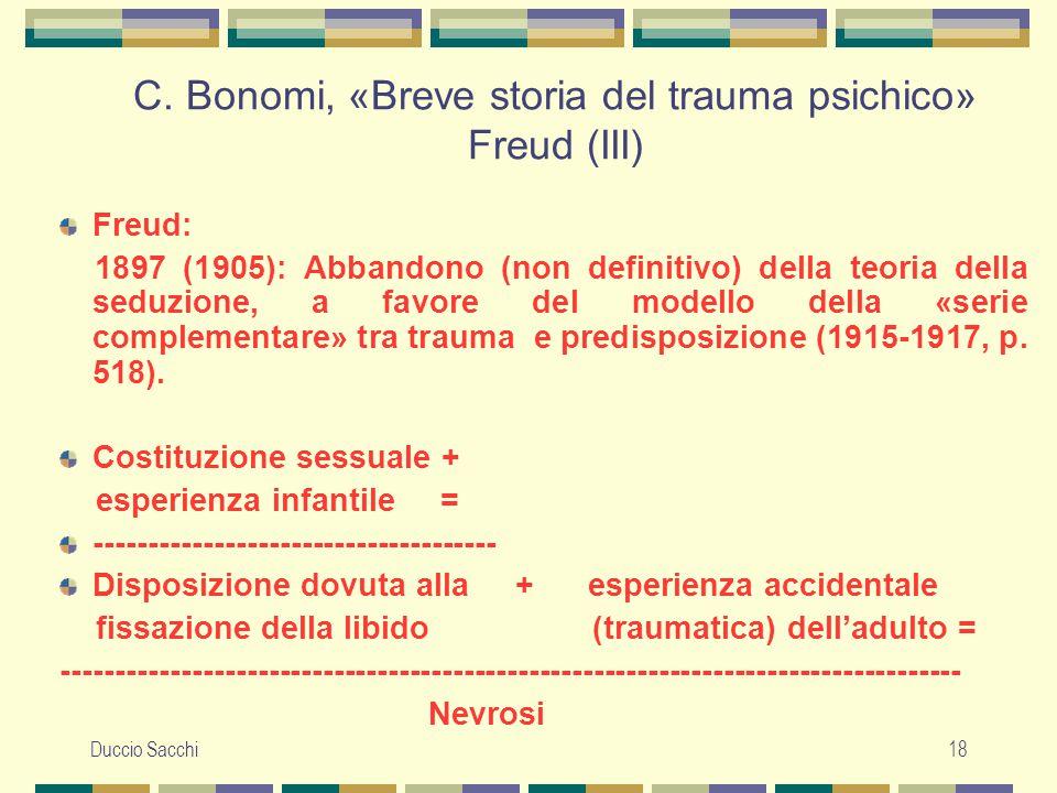 C. Bonomi, «Breve storia del trauma psichico» Freud (III)