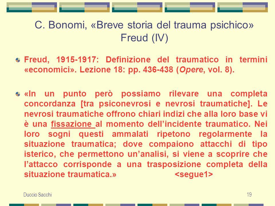 C. Bonomi, «Breve storia del trauma psichico» Freud (IV)