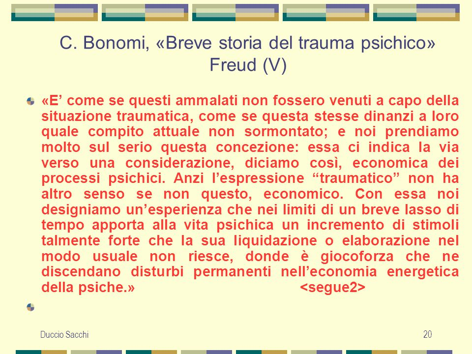 C. Bonomi, «Breve storia del trauma psichico» Freud (V)