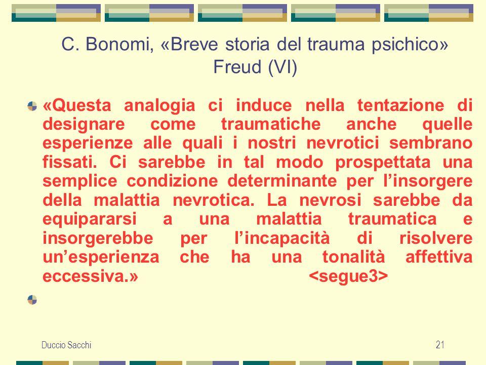 C. Bonomi, «Breve storia del trauma psichico» Freud (VI)