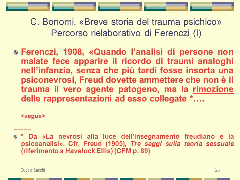 C. Bonomi, «Breve storia del trauma psichico» Percorso rielaborativo di Ferenczi (I)