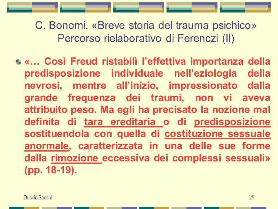 C. Bonomi, «Breve storia del trauma psichico» Percorso rielaborativo di Ferenczi (II)