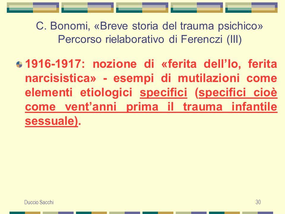 C. Bonomi, «Breve storia del trauma psichico» Percorso rielaborativo di Ferenczi (III)