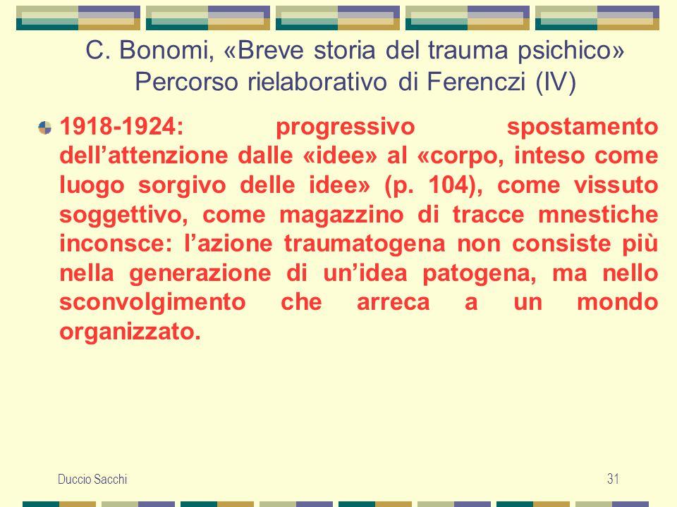 C. Bonomi, «Breve storia del trauma psichico» Percorso rielaborativo di Ferenczi (IV)
