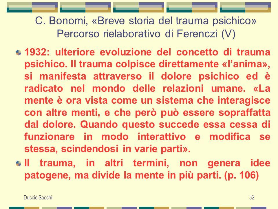 C. Bonomi, «Breve storia del trauma psichico» Percorso rielaborativo di Ferenczi (V)