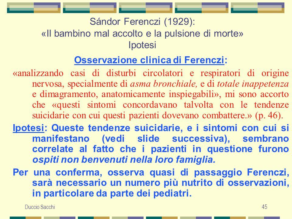 Osservazione clinica di Ferenczi: