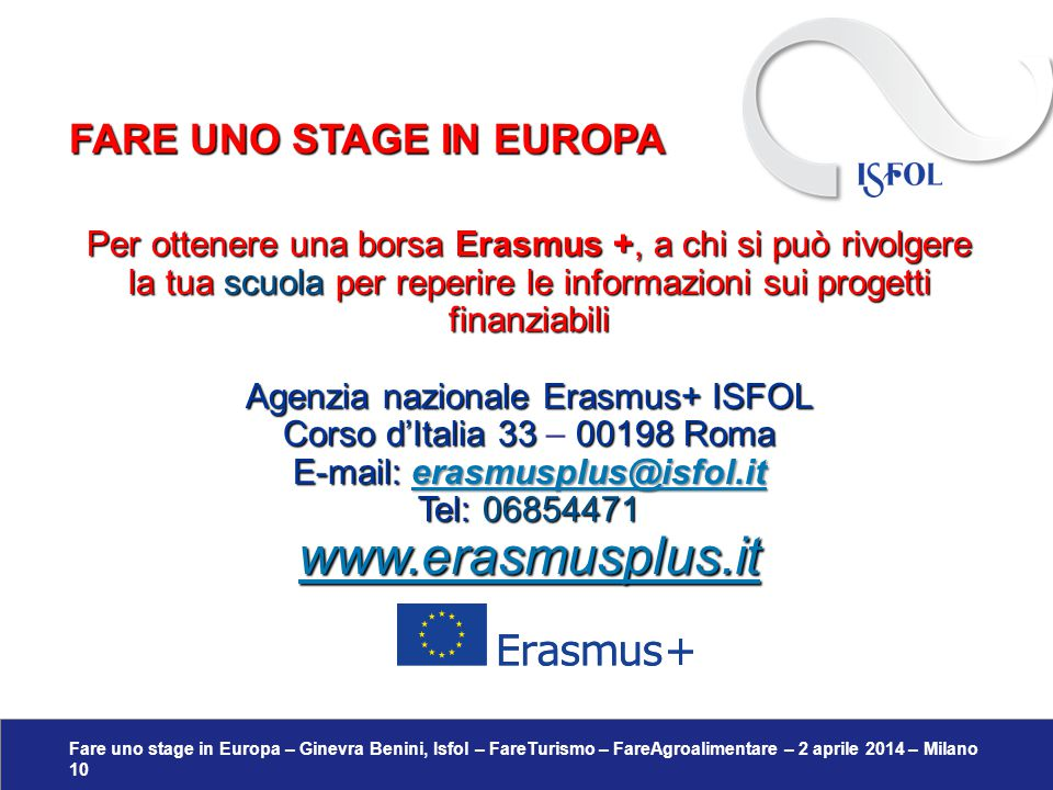 www.erasmusplus.it Fare uno stage in europa