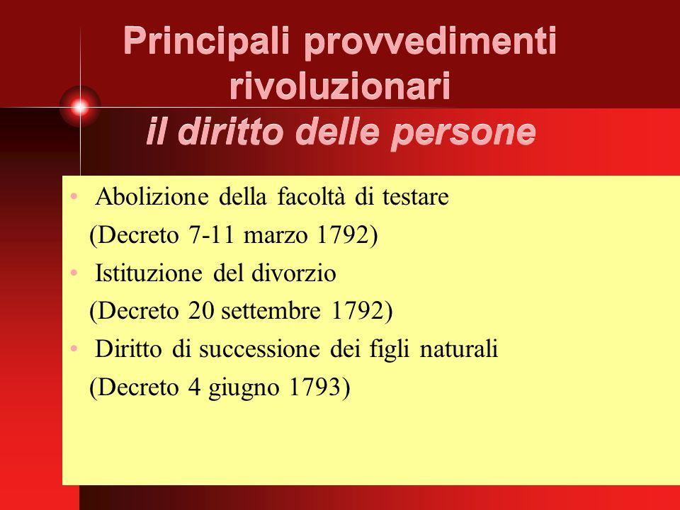 Principali provvedimenti rivoluzionari il diritto delle persone