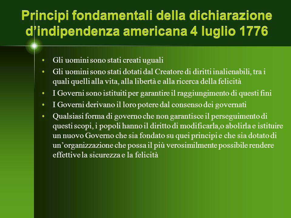 Principi fondamentali della dichiarazione d'indipendenza americana 4 luglio 1776