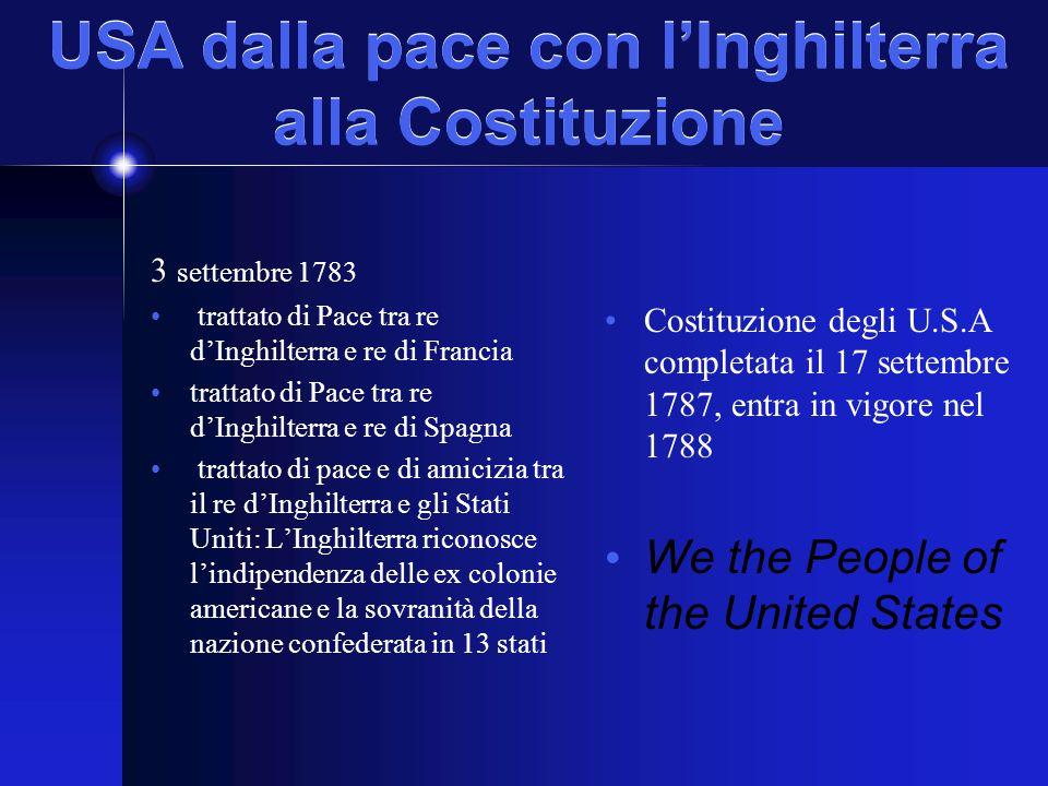 USA dalla pace con l'Inghilterra alla Costituzione