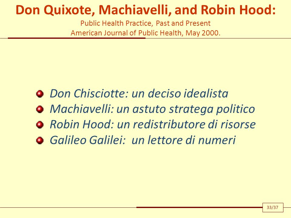 Don Quixote, Machiavelli, and Robin Hood: Public Health Practice, Past and Present American Journal of Public Health, May 2000.