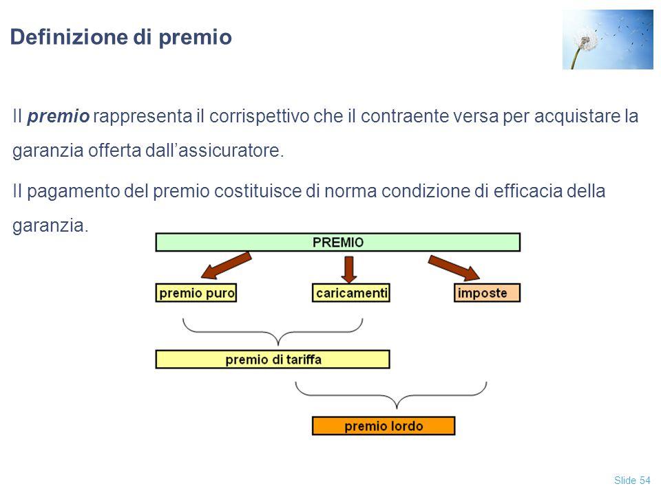 Definizione di premio Il premio rappresenta il corrispettivo che il contraente versa per acquistare la garanzia offerta dall'assicuratore.